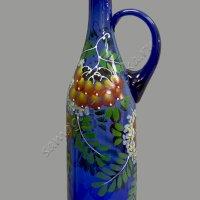 """Бутыль """"Литр 1л"""", синее стекло с ручкой ручная роспись"""